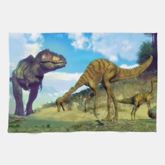 Tyrannosaurus rex surprising gallimimus dinosaurs hand towel