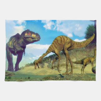 Tyrannosaurus rex surprising gallimimus dinosaurs kitchen towel
