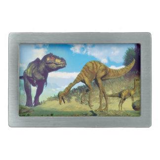 Tyrannosaurus rex surprising gallimimus dinosaurs rectangular belt buckle