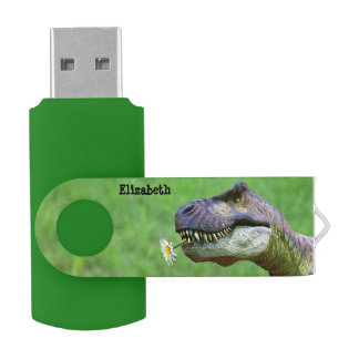 Tyrannosaurus Rex with Flower USB Flash USB Flash Drive
