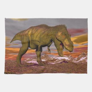 Tyrannosaurus roaring - 3D render Kitchen Towels