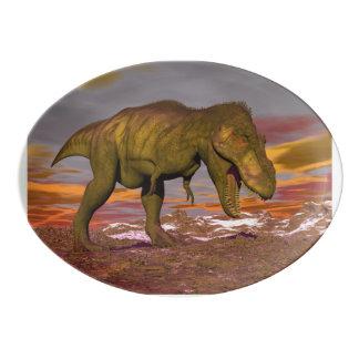 Tyrannosaurus roaring - 3D render Porcelain Serving Platter