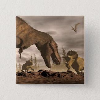 Tyrannosaurus roaring at triceratops - 3D render 2 Inch Square Button