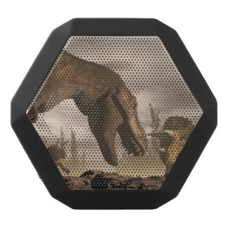 Tyrannosaurus roaring at triceratops - 3D render Black Bluetooth Speaker