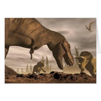 Tyrannosaurus roaring at triceratops - 3D render Card