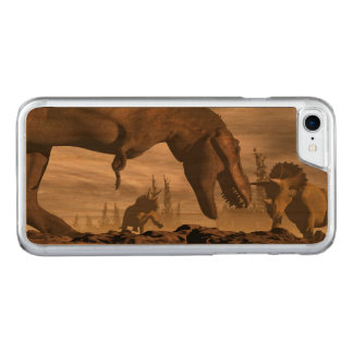 Tyrannosaurus roaring at triceratops - 3D render Carved iPhone 7 Case