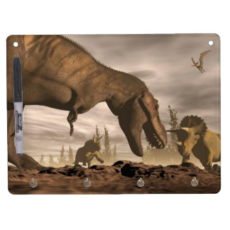 Tyrannosaurus roaring at triceratops - 3D render Dry Erase Board With Keychain Holder