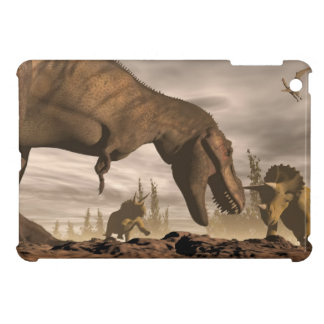 Tyrannosaurus roaring at triceratops - 3D render iPad Mini Cover