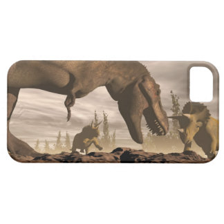 Tyrannosaurus roaring at triceratops - 3D render iPhone 5 Cases