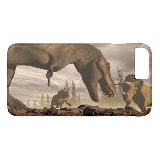 Tyrannosaurus roaring at triceratops - 3D render iPhone 7 Plus Case
