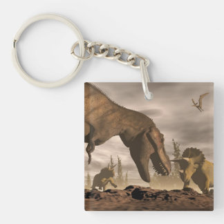 Tyrannosaurus roaring at triceratops - 3D render Keychain