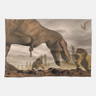 Tyrannosaurus roaring at triceratops - 3D render Kitchen Towel