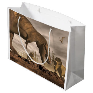 Tyrannosaurus roaring at triceratops - 3D render Large Gift Bag