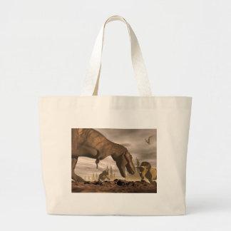 Tyrannosaurus roaring at triceratops - 3D render Large Tote Bag