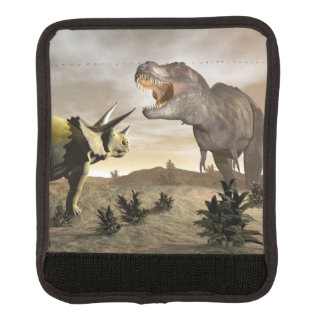 Tyrannosaurus roaring at triceratops - 3D render Luggage Handle Wrap