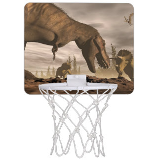 Tyrannosaurus roaring at triceratops - 3D render Mini Basketball Hoop