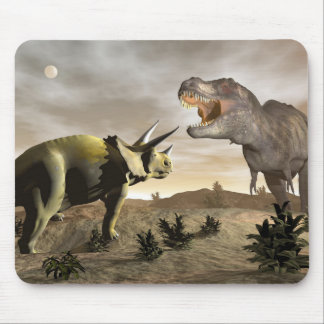 Tyrannosaurus roaring at triceratops - 3D render Mouse Pad