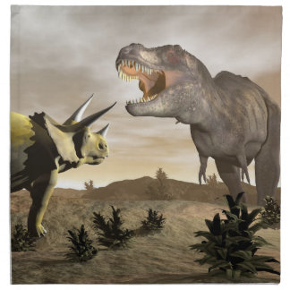 Tyrannosaurus roaring at triceratops - 3D render Napkin