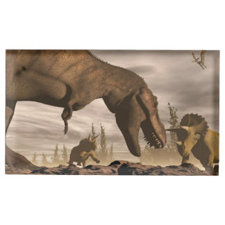 Tyrannosaurus roaring at triceratops - 3D render Place Card Holder