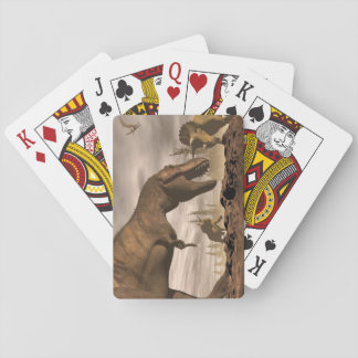 Tyrannosaurus roaring at triceratops - 3D render Playing Cards