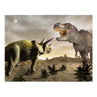 Tyrannosaurus roaring at triceratops - 3D render Postcard