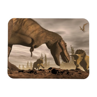 Tyrannosaurus roaring at triceratops - 3D render Rectangular Photo Magnet