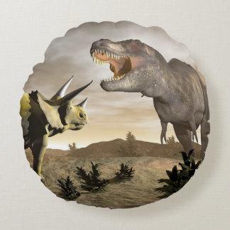 Tyrannosaurus roaring at triceratops - 3D render Round Pillow
