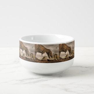 Tyrannosaurus roaring at triceratops - 3D render Soup Mug