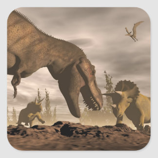 Tyrannosaurus roaring at triceratops - 3D render Square Sticker