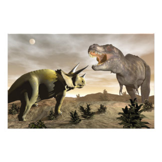 Tyrannosaurus roaring at triceratops - 3D render Stationery