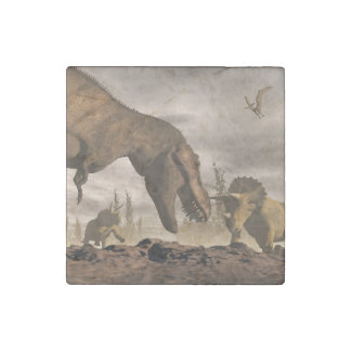 Tyrannosaurus roaring at triceratops - 3D render Stone Magnets