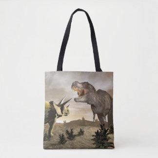 Tyrannosaurus roaring at triceratops - 3D render Tote Bag