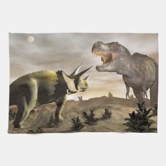 Tyrannosaurus roaring at triceratops - 3D render Towel