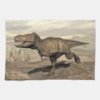 Tyrannosaurus running - 3D render Kitchen Towel