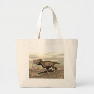 Tyrannosaurus running - 3D render Large Tote Bag