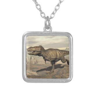 Tyrannosaurus running - 3D render Silver Plated Necklace