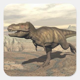 Tyrannosaurus running - 3D render Square Sticker