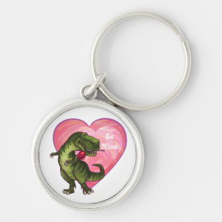 Tyrannosaurus Valentine's Day Silver-Colored Round Keychain