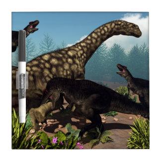 Tyrannotitan attacking an argentinosaurus dinosaur dry erase whiteboard