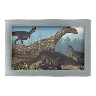 Tyrannotitan attacking an argentinosaurus dinosaur rectangular belt buckles