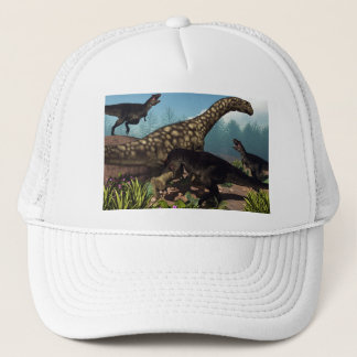 Tyrannotitan attacking an argentinosaurus dinosaur trucker hat
