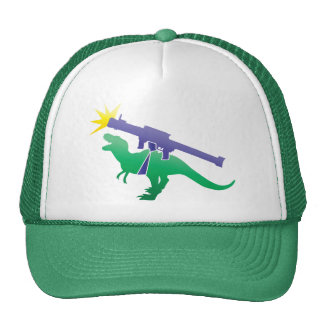 Tyranosaur rocket launcher trucker hat