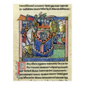 Tyre being blockaded by the Venetian fleet Postcard