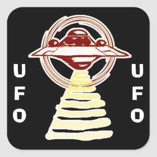 U.F.O - Yellow/Red Ring beam Square Sticker
