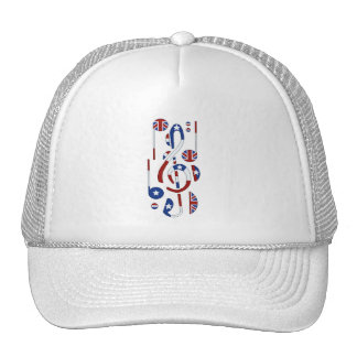 U.K. and USA Flag Music Notes Trucker Hat