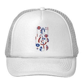 U.K. and USA Flag Musical Notes Cap