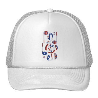 U.K. and USA Flag Musical Notes Trucker Hat