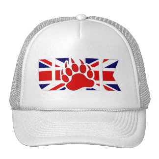 U.K BEAR - RED PAW ON THE FLAG -Trucker Hat