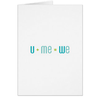 U + Me Greeting Card (Turquoise and Aqua)