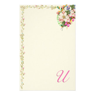 U Monogram Floral Bouquet Customized Stationery